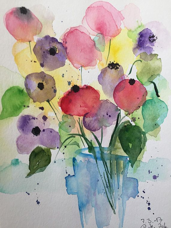 Original Aquarell Blumenstrauss Blumen Bild Aquarellmalerei
