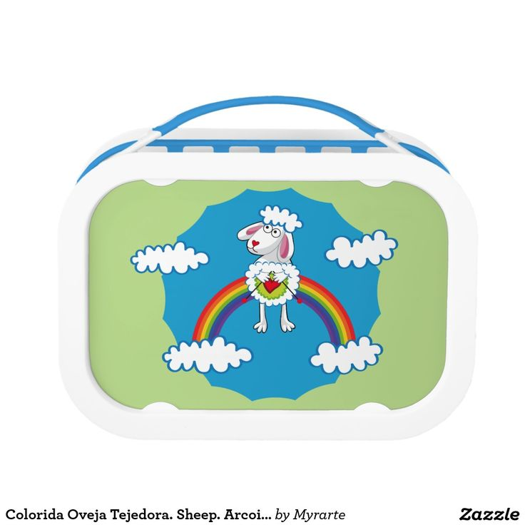 Colorida Oveja Tejedora. Sheep. Arcoiris, rainbow. Producto disponible en tienda Zazzle. Product available in Zazzle store. Regalos, Gifts. Link to product: http://www.zazzle.com/colorida_oveja_tejedora_sheep_arcoiris_rainbow_lunch_box-256068324297693302?CMPN=shareicon&lang=en&social=true&rf=238167879144476949 #lonchera #LunchBox #oveja #sheep