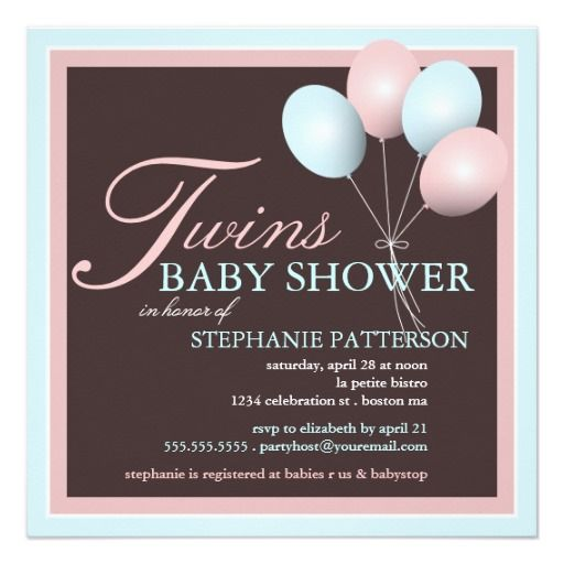 343 best Twins Baby Shower Invitations images on Pinterest Twin