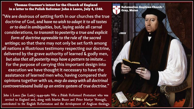 Thomas Cranmer's intent for the Anglican faith