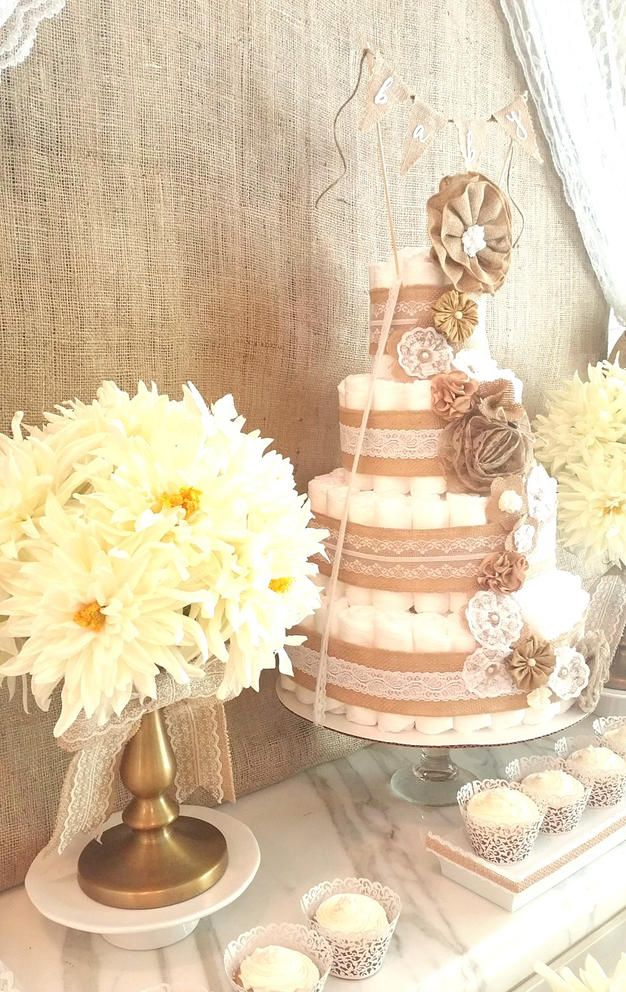Burlap and lace vintage diaper cake.