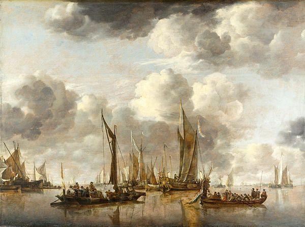 A Shipping Scene With A Dutch Yacht Firing A Salute Jan van de Cappelle
