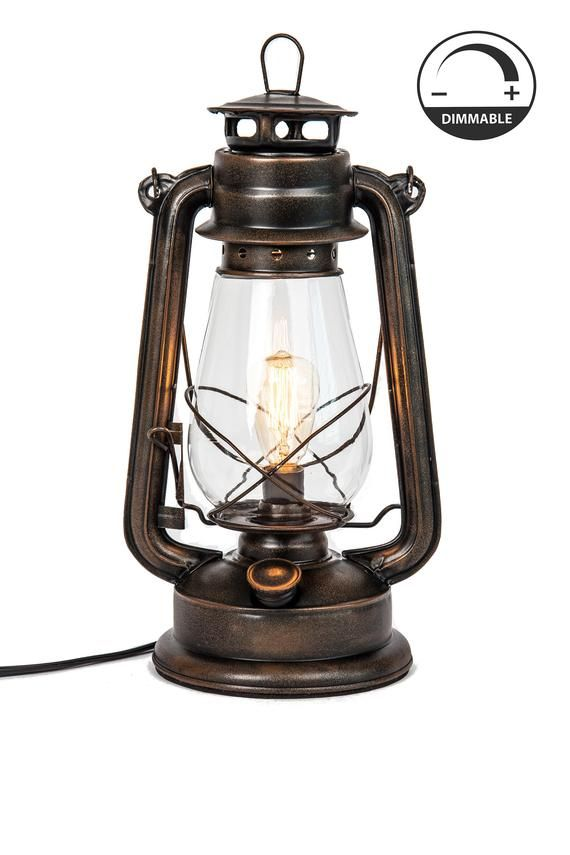 Electric Lantern Table Lamp With Variable Dimming Controller Rust Powder Coat Finish By Muskoka Life Lantern Table Lamp Electric Lanterns Lantern Lamp
