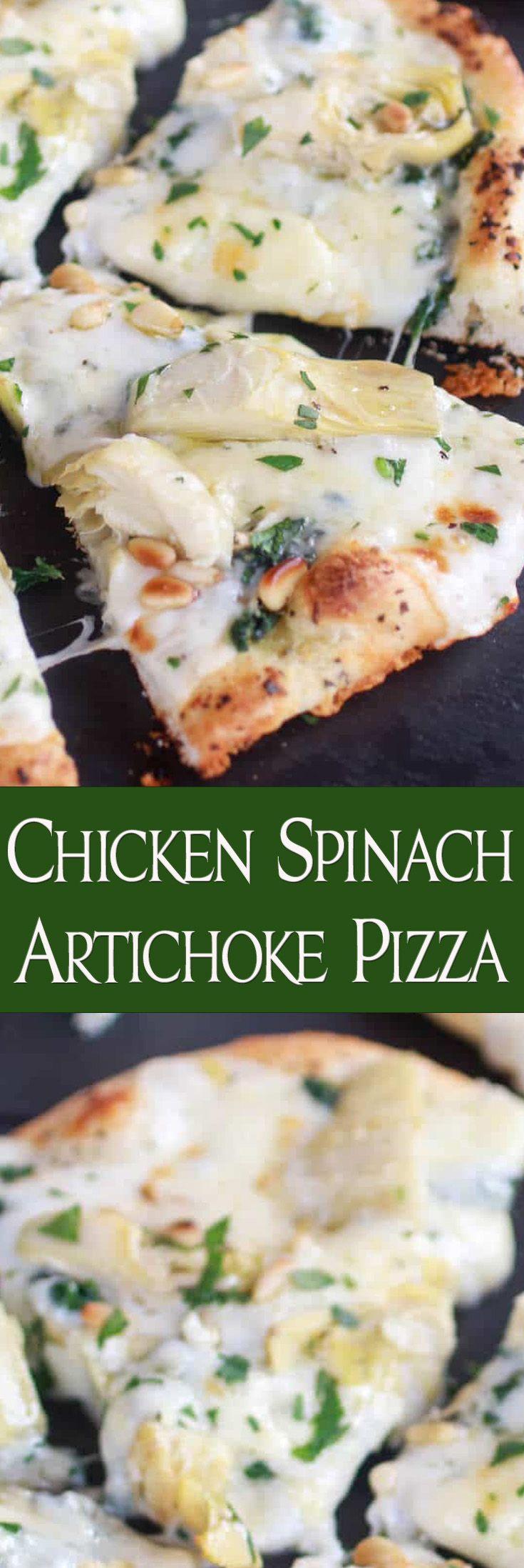 Chicken Spinach Artichoke Pizza