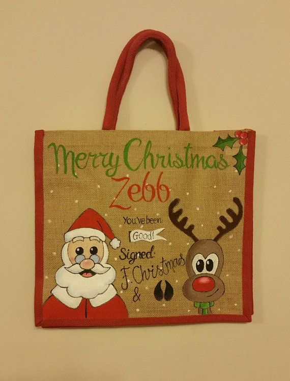 Christmas Jute Bag  Large by PaigesPaintings1 on Etsy
