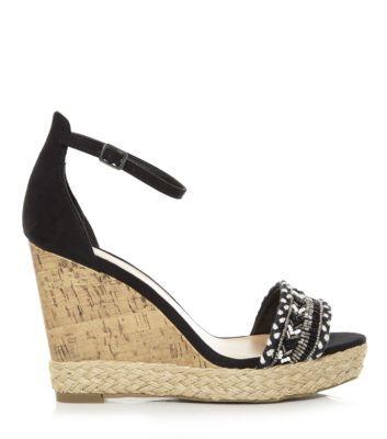 Black Aztec Embellished Ankle Strap Wedges