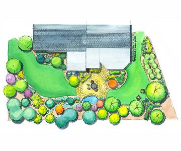 Private-Getaway Landscape Plan- planting a deep bank of trees and shrubs screen a view and filter out street noise. Plan can be downloaded