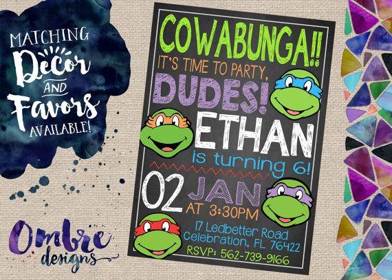 Ninja Turtle Invitation Ninja Turtles Party Ninja by OmbreDesigns