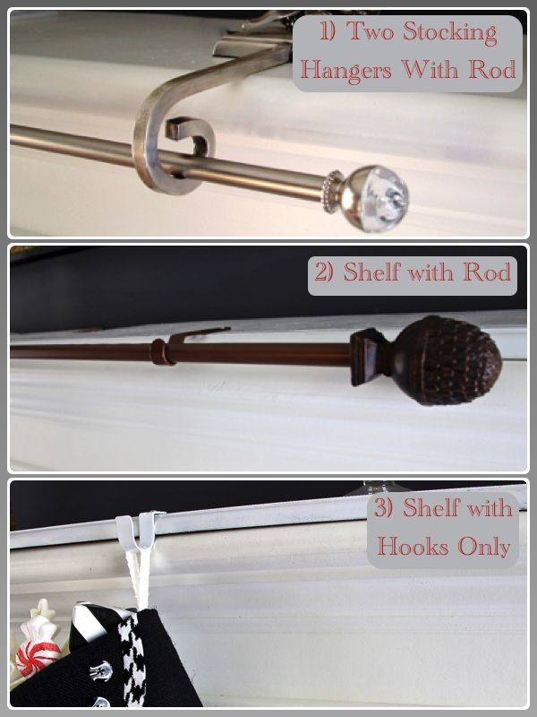 Christmas Stocking Rods and Shelves - DIY solutions for hanging a growing number of Christmas stockings withOUT a chorus line of expensive stocking hangers.
