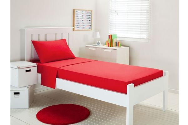 Dwell Red Plain Dyed SINGLE Single & Fitted Sheet Set Polyester/Cotton NEW