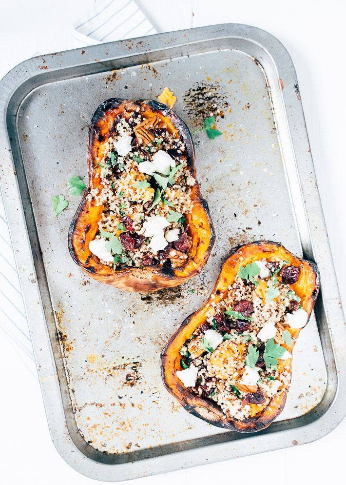 gorgonzola and cranberry stuffed squash from the oven