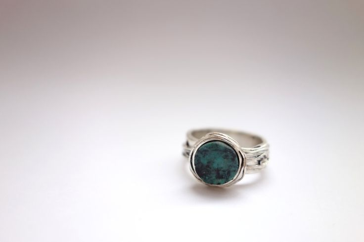 Sterling silver large turquoise ring by Picossa on Etsy