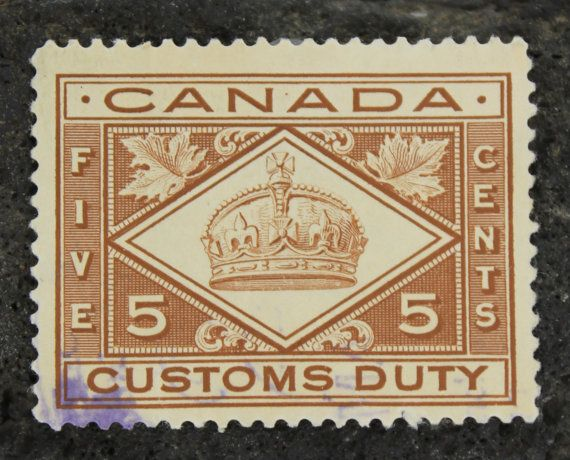 Canadian Stamps first issued in the early 1900s by the Canadian Post. They feature the English crown and maple leafs.