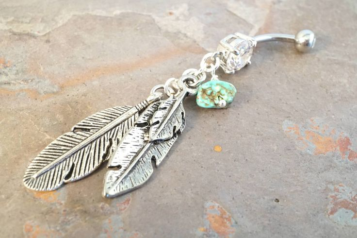 Silver Feather Turquoise Dangle Belly Button Jewelry Ring