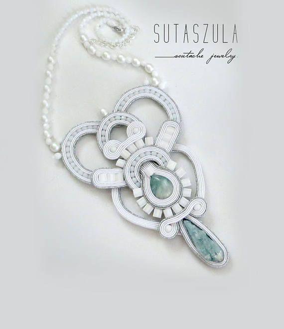 Wedding statement white bridal necklace silver mint stone