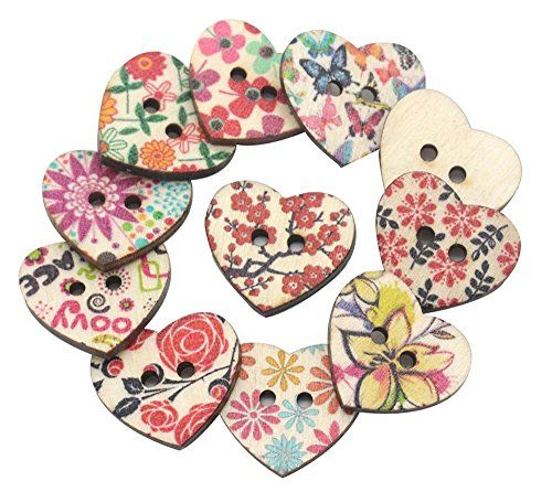 Crafty Buttons / iWorldApparel BUT-0169 Heart Shaped Painted 2 Hole Wooden Buttons 20mm x 22mm, 25 Pieces: Amazon.co.uk: Kitchen & Home