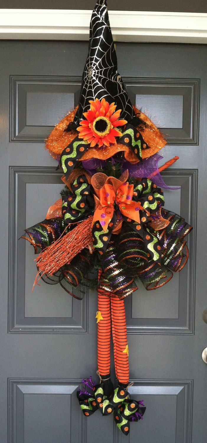 Witch Wreath Front door wreath Halloween Witch by CindysSilks