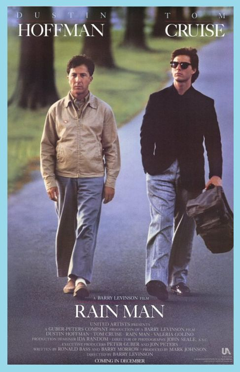 """1988, the film """"Rain Man"""" debuted in theaters. """"Rain Man"""" is an American drama film directed by Barry Levinson and written by Barry Morrow and Ronald Bass. It tells the story of an abrasive and selfish young wheeler-dealer, Charlie Babbitt (Tom Cruise), who discovers that his estranged father has died and bequeathed all of his multimillion-dollar estate to his other son, Raymond (Dustin Hoffman), an autistic savant, of whose existence Charlie was unaware."""