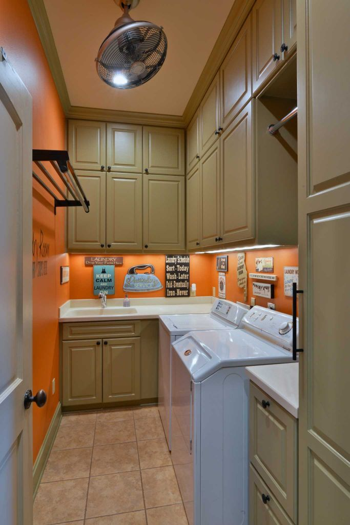 Long narrow laundry room.