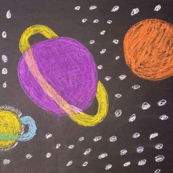 Previously unknown planets. Dry pastels