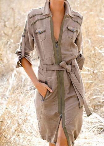 Платье «Сафари» (74 фото) 2017: новинки, с чем носить, для полных женщин, джинсовое, в пол, длинное, лен