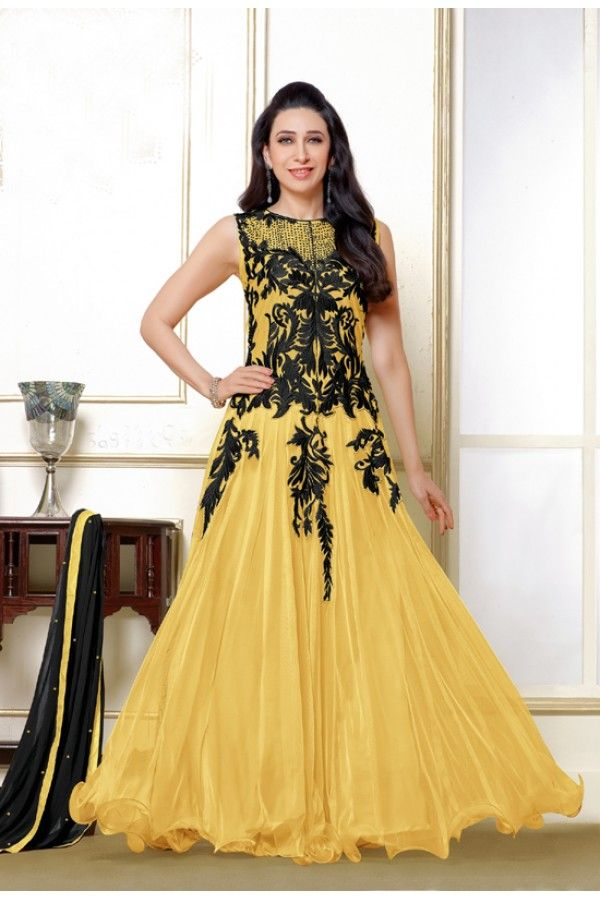 Karishma Kapoor In Yellow Designer Anarkali Suit  - 16985