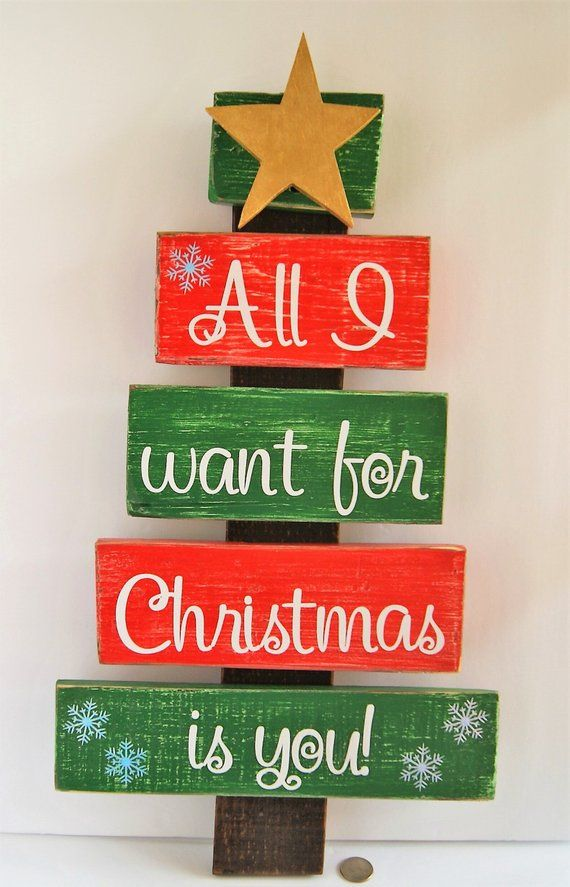 Handmade Pallet Wood Christmas Tree With Song Lyrics All I Want For Christmas Is You An Pallet Wood Christmas Pallet Wood Christmas Tree Christmas Wood Crafts
