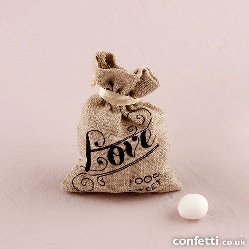 Mini Linen Drawstring Pouch with Vintage Infused Love Print - Confetti.co.uk