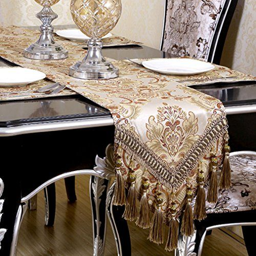 Warm Home Modern Jacquard Floral Table Runner Handmade Tassel Embroidered Table Runners Khaki 13 By 108 Inch Multi-tassels