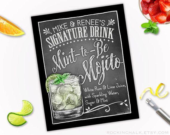Wedding Decoration  Signature Drink Sign  by RockinChalk on Etsy