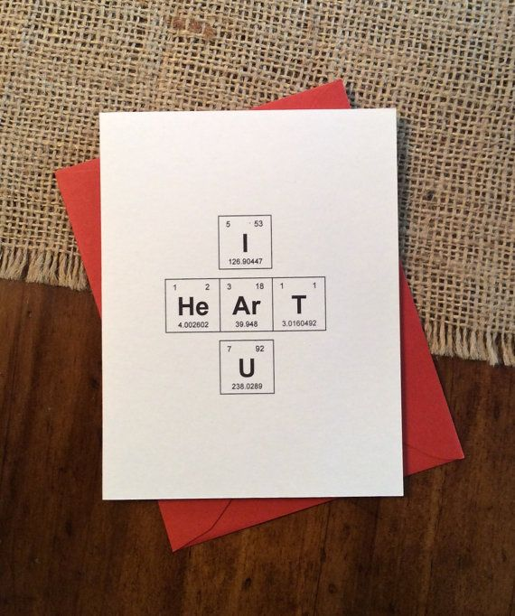 I Heart U Valentine Periodic Table of the Elements Sweet annd Nerdy Valentine's Day Card by theBirdandtheBeard on Etsy