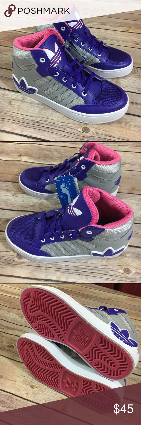 Adidas Hard Court Hi C Big Trefoil Logo Pink Gray Adidas Hard Court Hi C Big Trefoil Logo Pink Purple Gray 1 Girls  Beautiful high top sneakers with hook and loop fastener and lace up.  New condition.  #adidas #hardcourt #bigtref #purple #gray #hightops #basketball #kicks #coolkicks #new #nib #shoes #basketballshoes #pink Adidas Shoes Sneakers