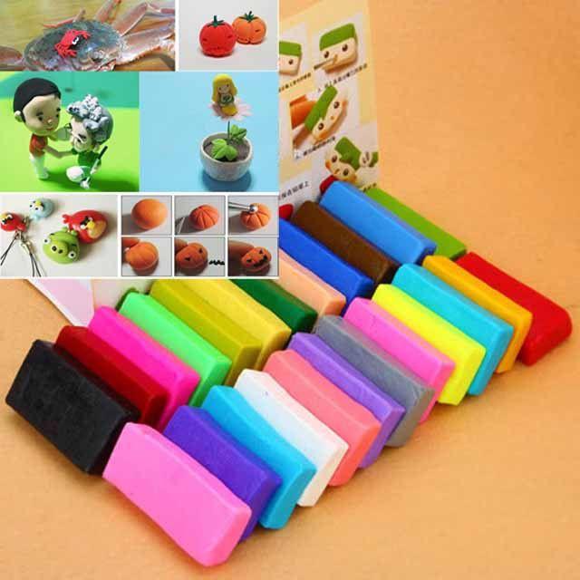 24x Colorful Soft Polymer Plasticine Fimo Effect Clay Blocks DIY Educational J #Unbranded