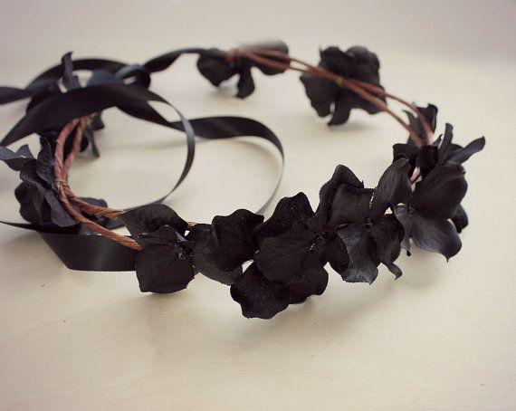 Black Floral Crown Black Flower Crown. Woodland by rosesandlemons, $36.00