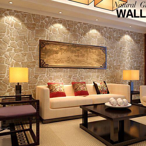 Living con paredes de piedra buscar con google casa for Revestimiento de ladrillo decorativo
