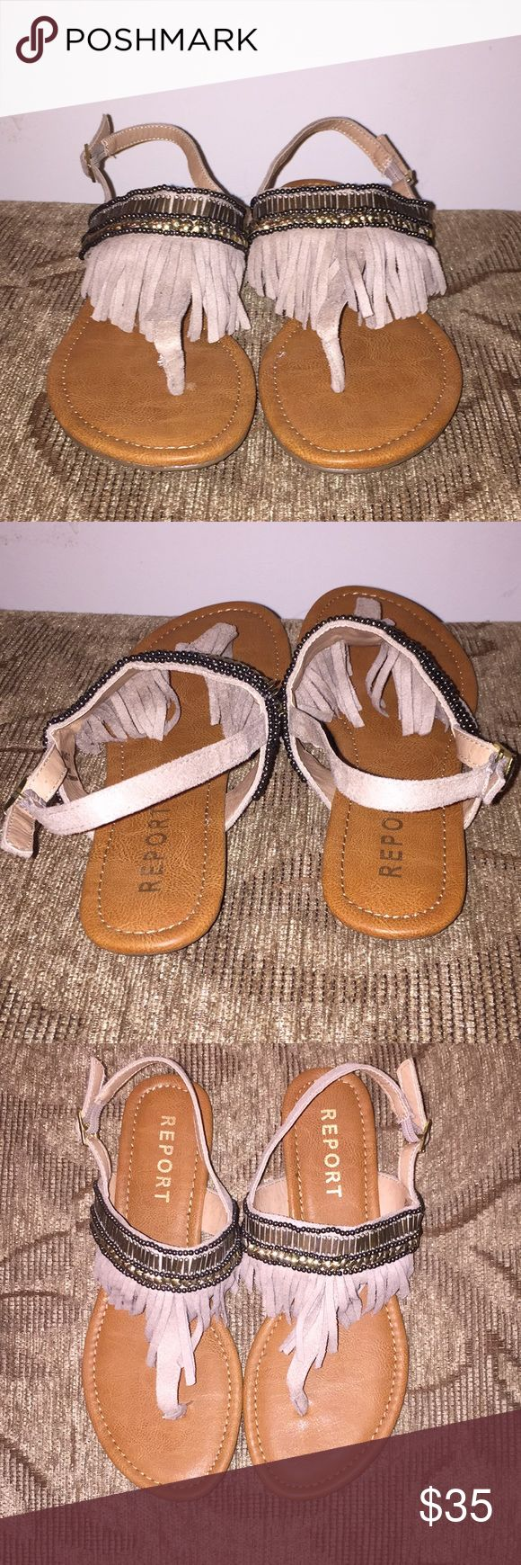 Report Summer Sandals Brand New fringed, t strap, beaded sandals. These are a size 7, but are made for narrow feet.  Never worn and in excellent condition! Report Shoes Sandals