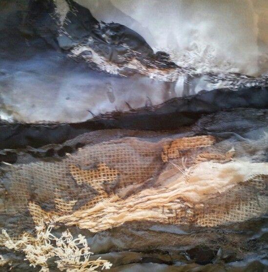 Stormy Dunes.....in progress.  Laura Edgar # textile art