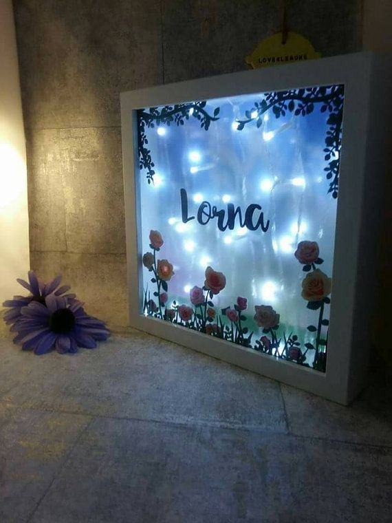 Name in a Frame Personalised Night Light baby name by Love4Lemons