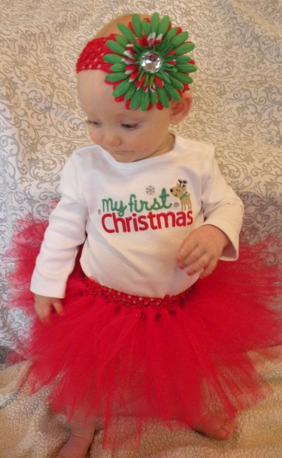 My First Christmas Outfit Baby Infant Girl Tutu Red My