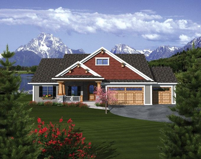 Best House Plan Images On Pinterest Ranch Floor Plans Square - Craftsman house plans with 3 car garage