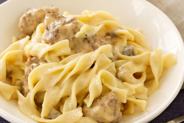 Melted VELVEETA takes classic beef stroganoff to a new, delicious level. Watch the how-to video to see this cheesy recipe in action.
