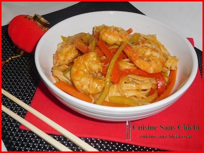 Très simple à préparer, tout le parfum de la cuisine chinoise, pour fêter le Nouvel an chinois. - Recette Plat : Nouilles sautées au wok, crevettes marinées et petits légumes croquants. par Cuisinesanschichi