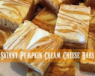 MOM'S KITCHEN: Skinny Pumpkin Cream Cheese Bars.  Good but need to add pumpkin pie spice and frost with cream cheese frosting.  So much for skinny!!  : )