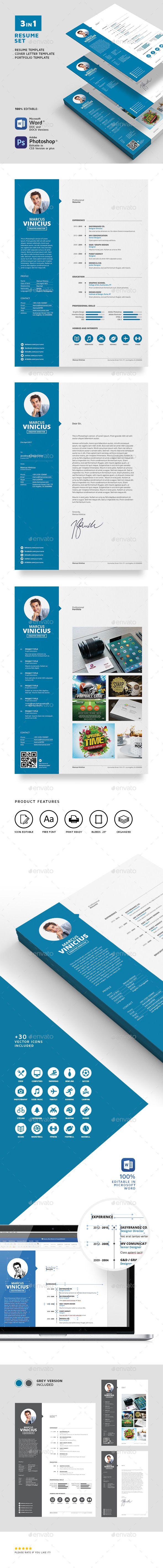 Resume Set Template PSD #design Download: http://graphicriver.net/item/resume-set/13745479?ref=ksioks