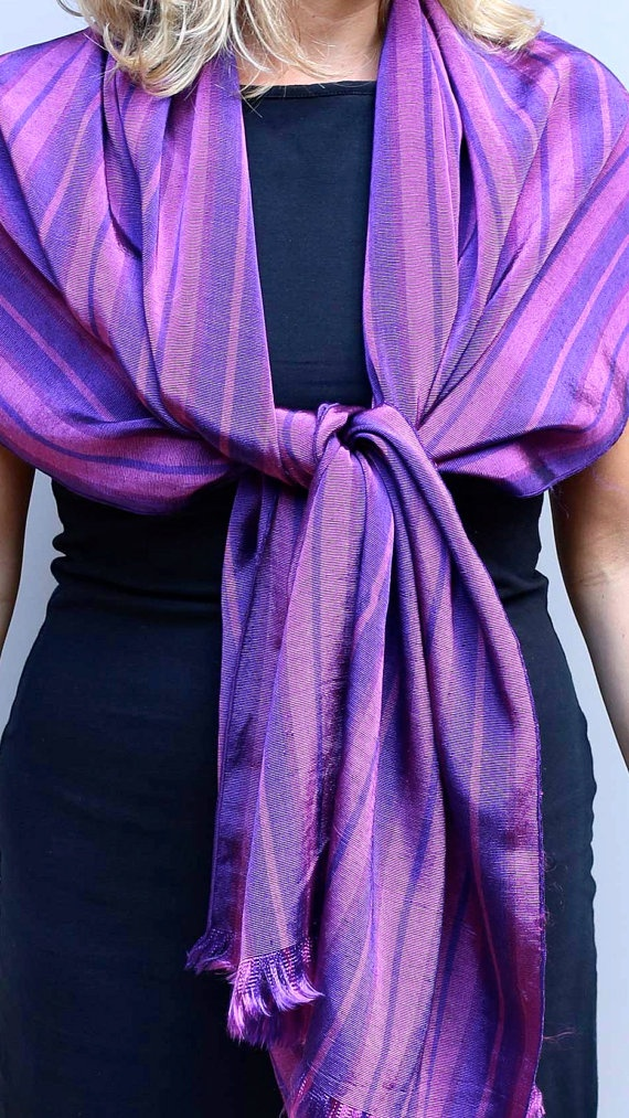 Silk and cotton Handwoven scarf Dusty pink and by ShawlsandtheCity, $60.00