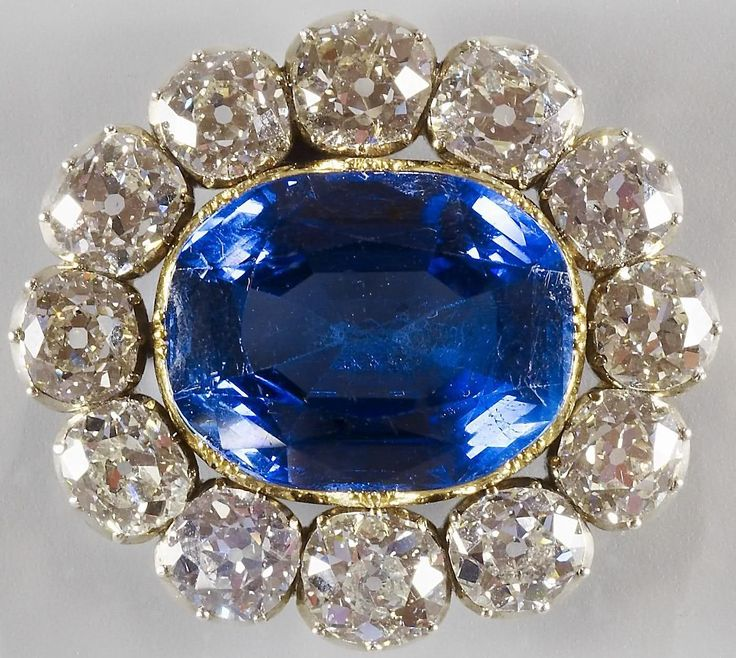 The day before her February 10th, 1840 wedding to Prince Albert, Queen Victoria wrote that she received a gift from: 'dearest Albert' of 'a splendid brooch, a large sapphire set round with diamonds, which is really quite beautiful'. She wore it to her wedding the next day, pinned to the front of her gown.