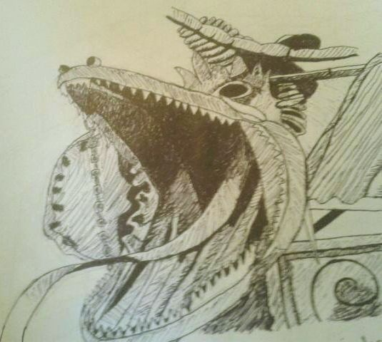 June 2014  The head of Gaudi's 'Dragon's Gate'. Done in pen