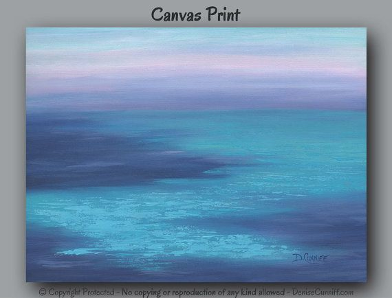 Large wall art, Coastal beach decor, Canvas print, Navy & teal blue decor, Abstract seashore, water,  living room, office or bedroom decor