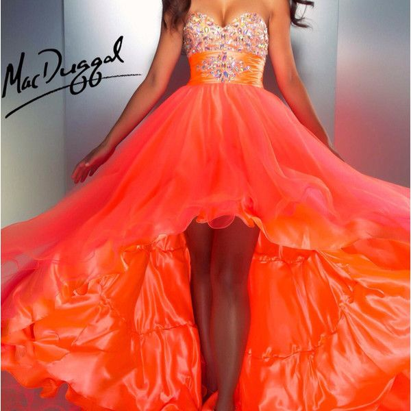 Elegant One Shoulder Long Neon Orange Chiffon Beaded Prom Dress Open... ❤ liked on Polyvore featuring dresses, chiffon prom dresses, open back prom dresses, beaded cocktail dress, cocktail prom dress and chiffon cocktail dresses