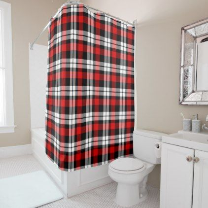 Cool Red White Black Lumberjack Tartan Pattern Shower Curtain - cool gift idea unique present special diy